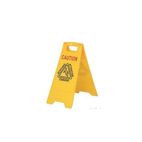 Señal de piso húmedo color amarillo